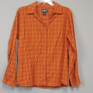 Woolrich women's plaid button down shirt size L